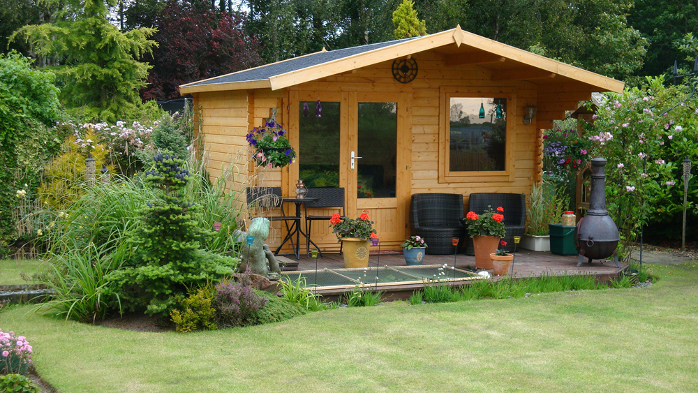Garden sheds log cabins summerhouses playhouses fence for Garden shed 2 rooms