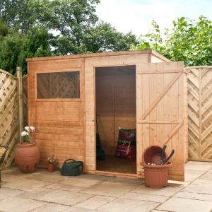 Wooden pent shed with one window