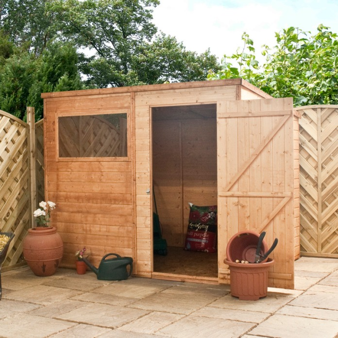 Plastic sheds b q how to build a shed sloped roof for Sloped roof shed